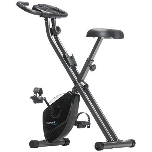 Skandika Foldaway X-1000 Fitnessbike, Heimtrainer x-bike F-Bike klappbar mit Handpuls-Sensoren, 8-stufiger Magnetwiderstand, LCD Display -