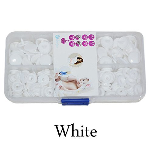 Seawhisper Starter Pack of 50 Complete Snaps/T5 Plastic Snap Fasteners Sets for Sewing Cloth Diaper/Bibs/Unpaper Towels/Nappies/Buttons/Mama Pads - A54 White by Seawhisper