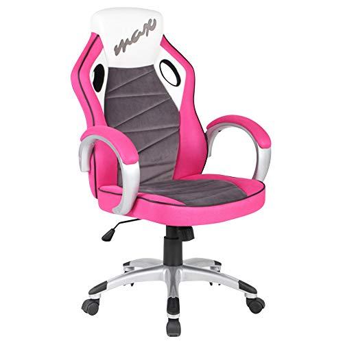 Bakaji poltrona presidenziale ergonomica sedia gaming racing da scrivana arredo ufficio casa sala riunioni regolabile in altezza e girevole direzionale rosa viola bianco