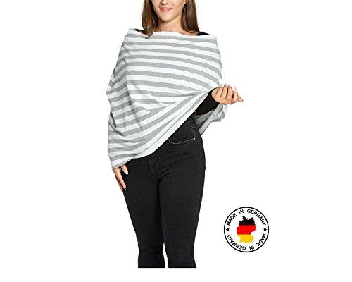 Yumakids 4 in 1 Stilltuch/Stillschal, Einkaufswagenschutz, Babyschalencover, ideal für Unterwegs inkl. Aufbewahrungsbeutel (grau-weiß) - Oeko-tex Standard 100