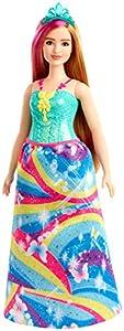 Barbie - Dreamtopia Muñeca Hada con Top Azul y Falda Arcoiris, Curvy (Mattel GJK16)