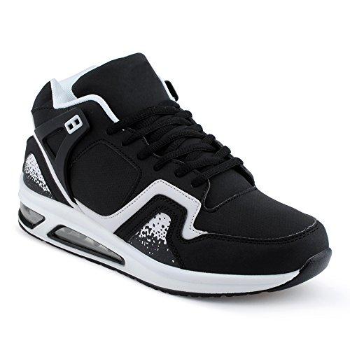 Herren Damen Sportschuhe High Top Sneaker Mehrfarbig Basketball Freizeit Unisex Schuhe Schwarz/Weiss-M