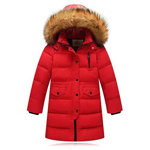 Anglewolf Girl's Puffer Down Coat Winter Jacket with Faux Fur Trim Hood Kids Girls Outerwear Jacket Warm Cotton Overcoat Furry Hooded(Red,7-9 Years)