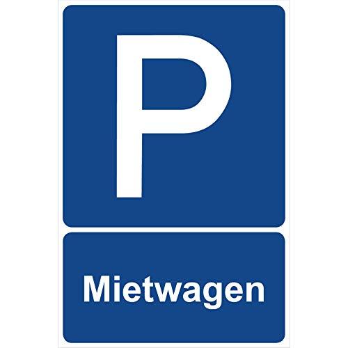 Parkplatzschild Mietwagen Parken Schild Blau 30 x 20 x 0,3 cm Kunststoff Parkplatzmakierung Parken Parkplatzschilder Parkplatz Hinweisschild, Verbotsschild, Parkplatz Freihalten