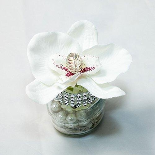 Tischgesteck mit weißer Orchidee+Strass im Glas-Tischdeko mit künstlichen Blumen-Hochzeit,Taufe,Weihnachten