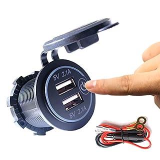 Thlevel Auto USB Ladegerät KFZ USB Steckdose 5V 4.2A Schnellladung mit LED Anzeige, wasserdichte und Staubdicht, für 12V~24V Fahrzeuge KFZ Boot Motorrad SUV Bus LKW Wohnwagen Marine (2x USB Ladegerät)