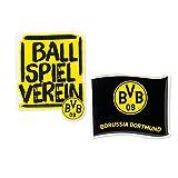 Unbekannt Borussia Dortmund 3D Doming Aufkleber, Sticker, Autoaufkleber 2er-Set BVB 09 - Plus Gratis Lesezeichen I Love Dortmund