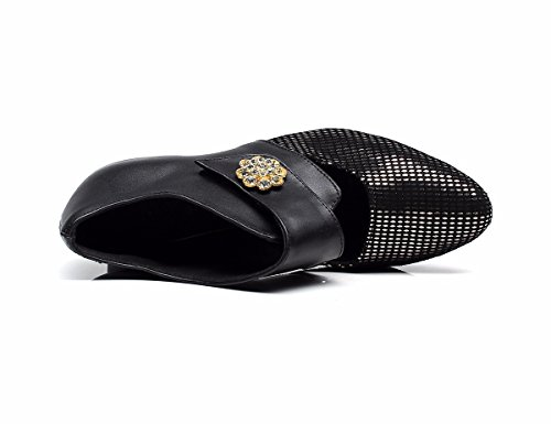 JINGXINSTOREDonna Scarpe da ballo salsa latino echtes Leder sandali tacchi Professional Indoor Nero