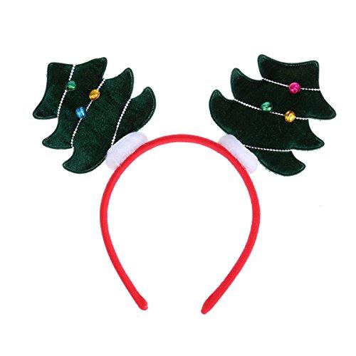 Tinksky Weihnachtsbaum-Stirnband, Haarband mit Glocke Haarband Kopf Boppers Haarschließe Kopfschmuck für Kinder Weihnachts-Party liefert (Weihnachtsbaum Kostüme Fancy Dress)