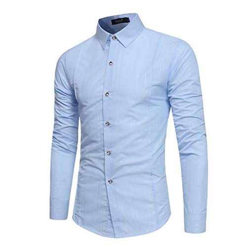 Herren Slim Fit Hemd Langarmhemd Hemd Button Turn-Down Collar für Business Freizeit Hochzeit -