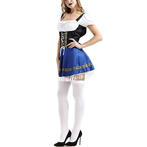 ZYUNYUN Französisch Magd Kellnerin Kostüm Diener Outfit Sexy Frauen Schürze Outfits Halloween Rollenspiele Maid Service Spiel Uniform,XXXL