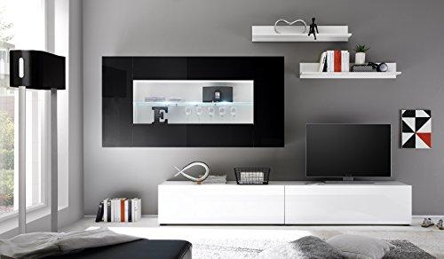Wohnwand Anbauwand Athen in Weiß / Schwarz Hochglanz - 3