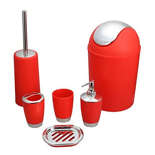NLIFEB Badezimmer - Set Toilette zubehör setzt die klobürste, mülleimer, soap Dish, zahnbürste oder seifenspender, spül - Cup in neun Farben (6 stück),rot - Neun Stück Set