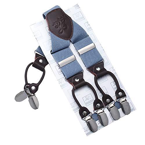 KANGDAI Mann Hosenträger Mode Einstellbare und Hohe Qualität 6 Clips mit Y Zurück Durable Breite Elastische Straps Hosenträger für Hosen Hosenträger (Herr hellblau) -
