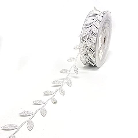 B&Y Fashion Leaf Satin Ribbon for Wedding Decoration,Craft and Gift Wrapping-0.5inch Wide 358 Inch Length (Silver) by B&Y