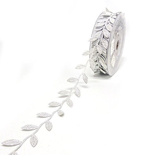 B&Y Fashion Leaf Satin Ribbon for Wedding Decoration,Craft and Gift Wrapping-0.5inch Wide 358 Inch Length (Silver) by B&Y