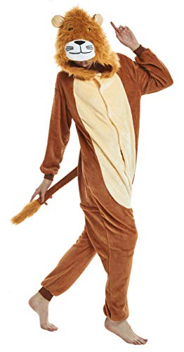 FunnyCos Erwachsene Strampelanzug Tier Pyjama Unisex Halloween Cosplay Kostüm Verrücktes Kleid Loungewear Löwe L