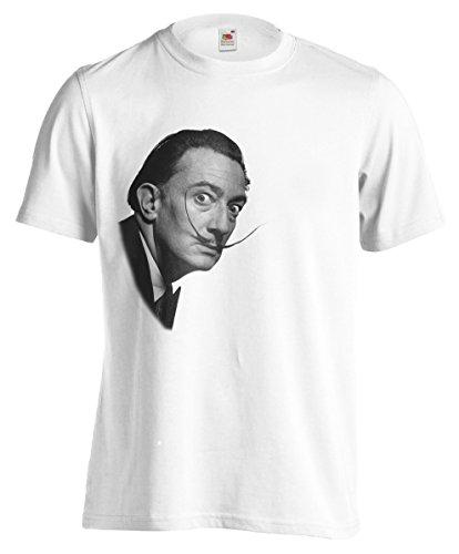 Camiseta Hombre Salvador Dalì - camiseta divertida 100% algodon LaMAGLIERIA,M, Blanco