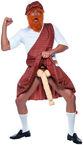 Luxuspiraten - Herren Männer gut bestückter Schotte Highlander Kostüm mit Mütze Bart Oberteil Schärpe Kilt Socken & Ausstattung, perfekt für Karneval, Fasching und Fastnacht, L, Rot