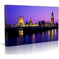 Big Ben London Cityscape stampa artistica su tela arte contemporanea–Cornice pronta da appendere, 50,8x 76,2cm