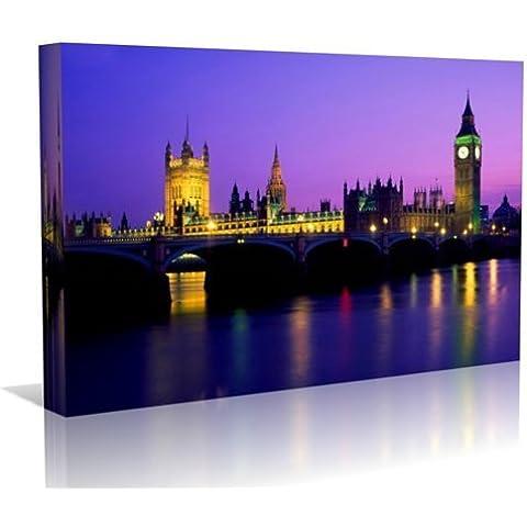 Big Ben London Cityscape Canvas Art Print-Stampa artistica in stile contemporaneo, pronta da appendere, 40 cm x 60 cm