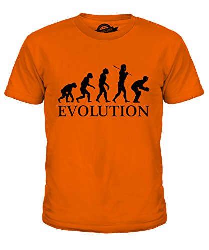 Candymix Cricket Wicket Keeper Evolution des Menschen Unisex Jungen Mädchen T Shirt, Größe 6 Jahre, Farbe Orange -