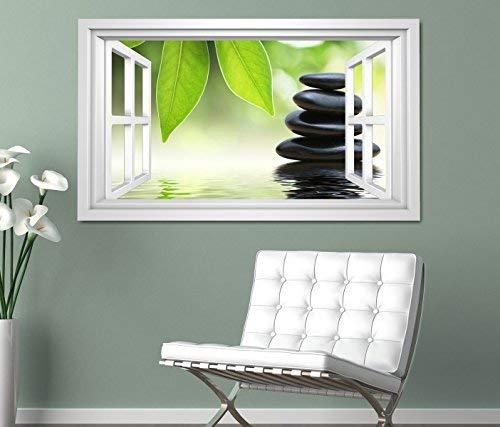 3D Fenster Wandbild Wandtattoo Aufkleber Wohnzimmer Wellness SPA Blumen Deko
