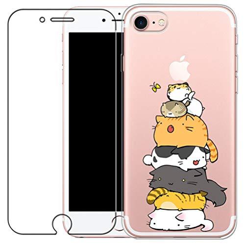 Coque iPhone 7, Coque iPhone 8 avec Verre Trempé, Etui Téléphone en Silicone Souple Cute Serie de Chat Transparent pour iPhone 7 / 8