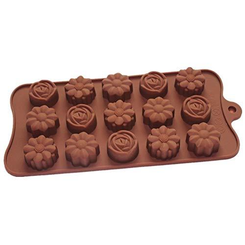 vancgoods 15Hohlraum, Rose mit Camellia verschiedene Blumen Schokolade Süßigkeiten Silikonform Form Eis Würfel Tablett Kunstharz Clay Form Silikon Party Maker -