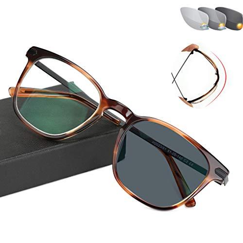 Eyetary Männer Frauen Trendy Klassische Bifokale Lesebrille - Photochromic Sonnenbrillenleser, Flexibel biegbarer Rahmen/Flache Linse/Anti Glare/Vergrößerung 1,0 bis 3,00 Stärke,Tortoise,+1.5