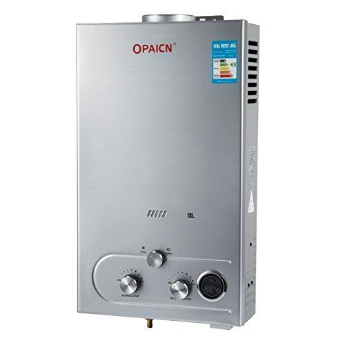 OldFe Scaldabagno A Gas Liquefatto Scaldabagno A Gas 18L LPG Con Digitale LCD 36KW Scaldabagno Automatico E Rapidamente