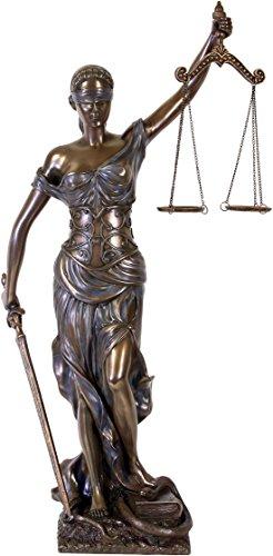 Figura Justitia. Gran! Bronceada! Escultura. Diosa de la Justicia. Abogado, ley.