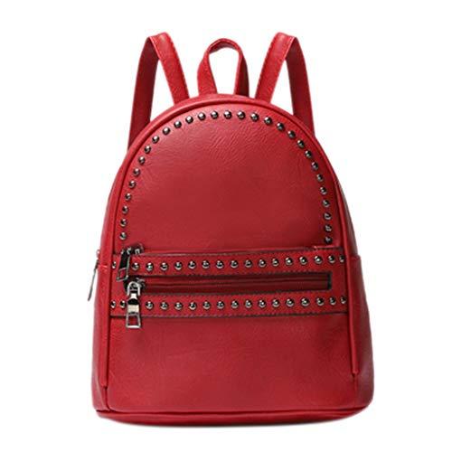 XZDCDJ Rucksäcke Für Damen UmhängeTaschen Mode Frauen Leder Rucksack Laptop Retro Travel School Rucksack Tasche