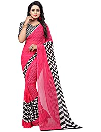 Vahni Women's Printed Georgette Saree With Blouse Piece Material