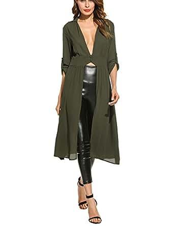 3a1954f875c Zeagoo Women s Roll-Up Sleeve Plunge Neck Split Maxi Chiffon Cardigan Shirt  (Small