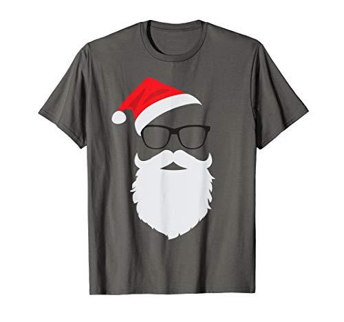 Hipster Santa Face mit Hut Bart & Brille Weihnachten T-Shirt