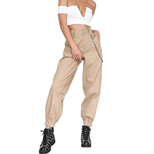 Vovotrade Damen Freizeithose Jogginghose Hose Damen Beiläufig Harem Ausgebeult Hüfte Hop Tanzen Joggen Schweiß Hose Slacks Trousers (Khaki, Size:S) Essentials Bootcut Jeans