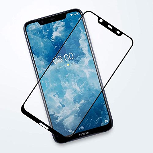 Canopy Tempered Glass for Nokia 8.1 Curved 9D 9H Hardness Edge to Edge with Dry&Wet Wipes