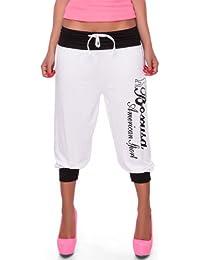 24brands Leichte Damen Kurze Sporthose Short Freizeithose Trainingshose Fitness Hose Tanzhose mit Print - 2270
