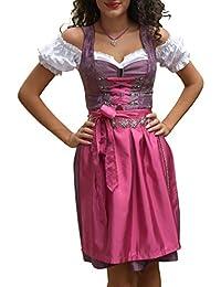 d5256f2a9a52bd Golden Trachten-Kleid Dirndl Damen 3 TLG, Midi für Oktoberfest, mit Schürze  und