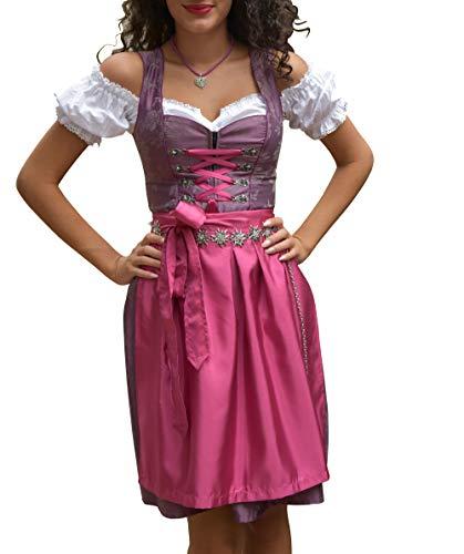 Golden Trachten-Kleid Dirndl Damen 3 TLG, Midi für Oktoberfest, mit Schürze und Bluse 486GT,Lila,38 (Party Stadt Kostüm Billig)