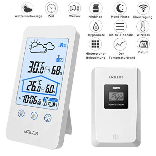 Wireless-temperatur-station (MCvilla Wetterstation Funk mit Außensensor Digitales Thermometer Hygrometer Universal Weather Station mit Aussenfühler wecker luftfeuchtigkeit Regenmesser, Kristallweiß)