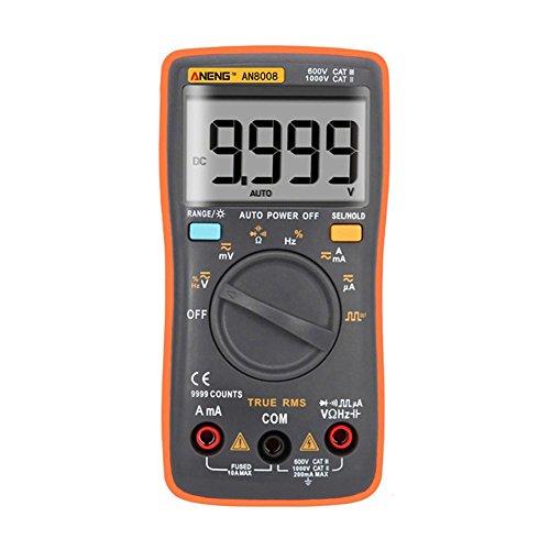 prettygood7 Multimeter AN8008 True-RMS Digital-Multimeter 9999 zählt Rechteck-Hintergrundbeleuchtung AC DC