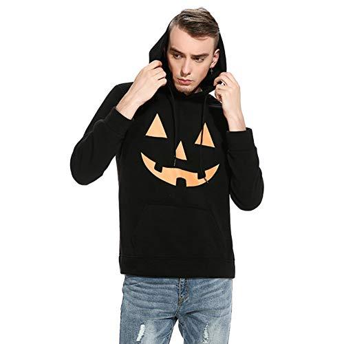 Herren Kapuzenpullover Hoodie Pullover mit Kapuze Halloween Teufel Kürbis Gesicht Drucken (Kürbis Schwarz, L)
