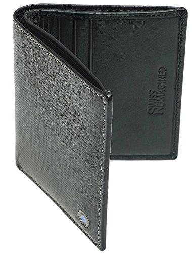 SWISS REIMAGINED Echtes Leder Herren Slim RFID Kreditkarteninhaber Brieftasche Brieftasche Geschenkbox für Herren - Schwarz -
