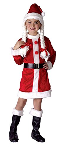 FNA Fashions Mädchen Weihnachten Santa Helper Kostüm Kinder rot weiß Karneval Fasching Party Outfit Gr. One size, Girls Santa Helper Outfit
