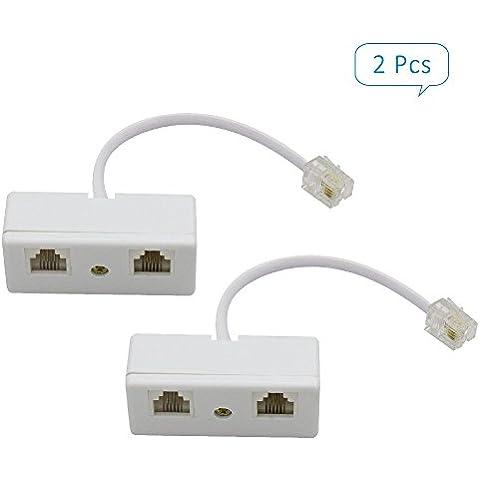 Telefonico RJ11 Socket Adattatore e Sdoppiatore Maschio a 2 Femmine Splitter Telefono Connettore 2 PCS 2-Way - Linea Bene