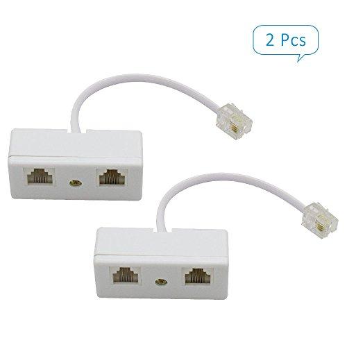 SHONCO 2 PCS 2-way RJ11 6P4C Telefon Kabel Line Draht Cord Detangler Adapter und Splitter Telefonzubehör Telefon Line Splitter