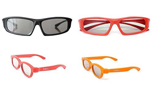 Paquete familiar de 4 pares de pasivo Universal gafas 3D para todos TV y cine 2 adultos rojo y negro y 2 niños en rojo y naranja