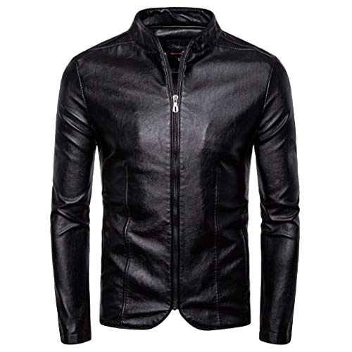 LSAltd MäNner Vintage Stehkragen Langarm Schlank ReißVerschluss Jacke Outcoat Klassische Reine Farbe Mantel Streetwear